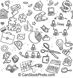 Seamless pattern of black doodles on business theme 2