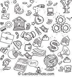 Seamless pattern of black doodles on business theme 3