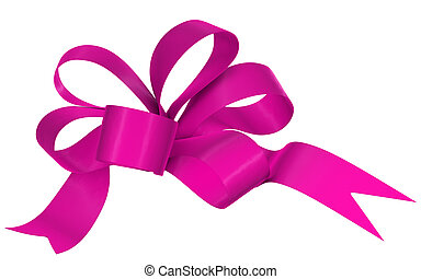 Magenta ribbon bow on white background, image isolated