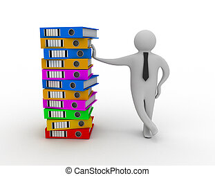 3d man with stack of folders