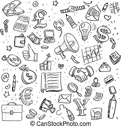 Seamless pattern of black doodles on business theme
