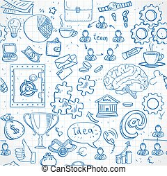 Seamless pattern of blue doodles on business and money theme