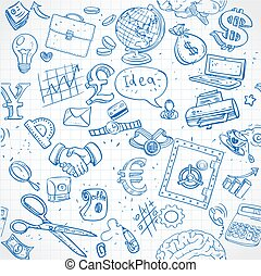 Seamless pattern of blue doodles on business theme 1