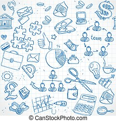 Seamless pattern of blue doodles on business theme 2