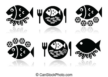 Fish and chips vector icons set - British food - fish and...