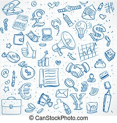 Seamless pattern of doodles on business theme