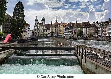 reuss river, Lucerne - view of Reuss river in Lucerne,...