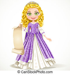 Beautiful young princess in purple dress holding a blank...