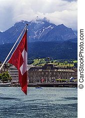Lake Lucerne - view of Lake Lucerne and Pilatus mountain,...