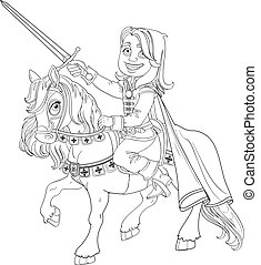 Brave Prince Charming on a horse outlined