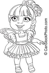 Cute little girl in tutu and wings outlined