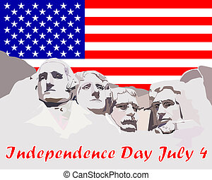 Independence Day July 4 - Mount Rushmore on the background...