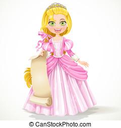 CÙte, giovane, princessin, tiara, presa a terra,...