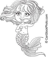Little girl mermaid outlined