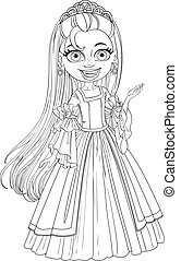 Lovely little princess in tiara and ball gown outlined