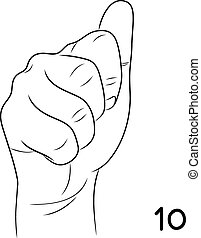 Sign language,Number 10