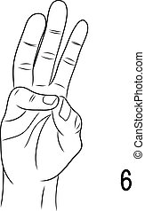 Sign language,Number 6