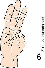 Sign language,Number 6