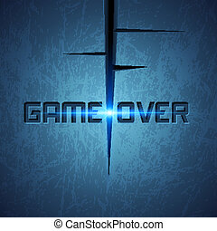 Vector Message: Game Over on Dark Cracked Background with...