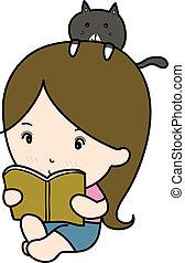 pequeño, niña, libro, lectura, caricatura