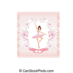 Beautiful ballerina - abstract card with pink ornaments
