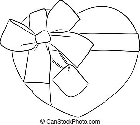 drawing heart with big ribbon bow and tag