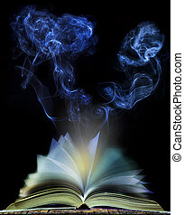 abstract of open book page with moving smoke on black...