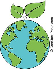 Eco icon of a leaf on a planet