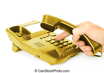 red phone - finger presses the button on gold phone