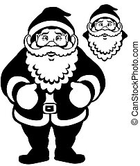santa claus black white - cartoon santa claus, black and...