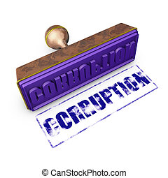 corruption - wooden seal with gold trim and...