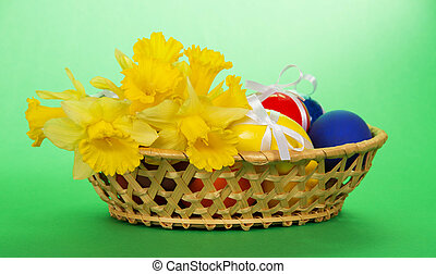 Flowers and eggs in wattled basket - Flowers and eggs with...