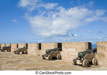 portuguese canons ramparts protective  wall essaouira morocco