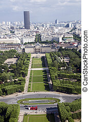 champ de mars park paris france - skyline cityscape view of...