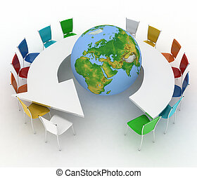 Conference table as an arrow with globe. Concept of global...