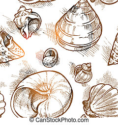 Seamless pattern from of different shapes shell  sketches 2
