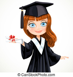 Diploma graduating cute student girl