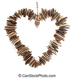 Driftwood Love Heart - Driftwood love heart with small...