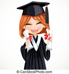 Happy student girl holding two diplomas