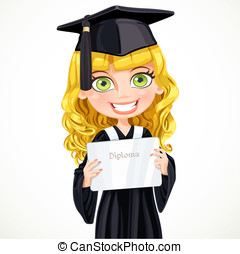 Pretty girl in cap and gown graduate holding a diploma