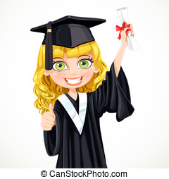 Pretty girl in cap and gown graduate holding a scroll...