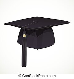 Black Academic hat with a tassel 1 isolated on white background