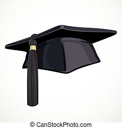 Black Academic hat with a tassel 2 isolated on white background