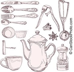 A cup of tea and vintage kitchen utensils isolated on white background