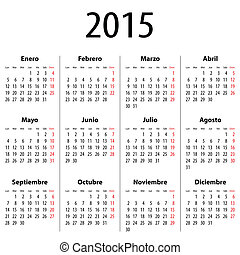 Spanish Calendar for 2015. Mondays first. Bold digits....