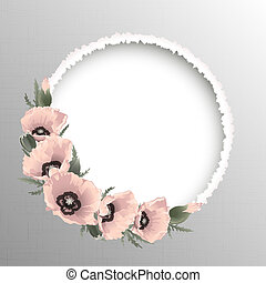 Pink poppies floral round frame, vector