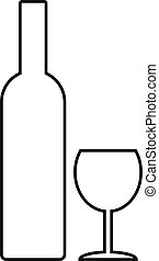 Bottle and glasse icon on white background
