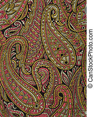 Colourful paisley - Details of a colourful paisley silk...