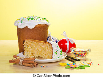 Part of an Easter cake on saucer, eggs, marzipan - Part of...