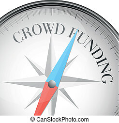 compass crowdfunding - detailed illustration of a compass...
